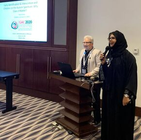 Picture of Ilene Zeitzer presenting at the 1st Gulf Autism Conference in Muscat, Oman in January 2020.